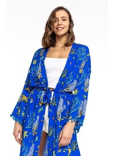 Tiffany&Tomato Akvaryum Desenli Püsküllü Uzun Kimono Mavi
